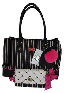 Betsey Johnson Triple Entry Black Wallet Satchel in black/bone stripe