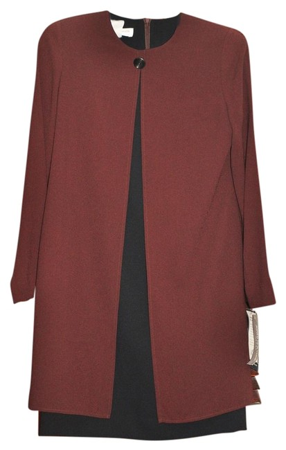 Item - Chocolate and Black Long Work/Office Dress Size Petite 4 (S)