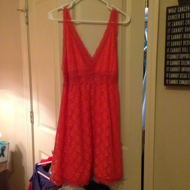 Other short dress Apricot, Salmon Lace Stylish Large Comfortable Cool Summer on Tradesy