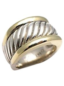 David Yurman size 5.75 - 6, sterling silver, 14k, cigar band, unisex ring