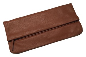JENNIFER HALEY Leather Leather Hold Over Brown Clutch