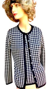 Saks Fifth Avenue Twin Set Houndstooth Silk Sweater