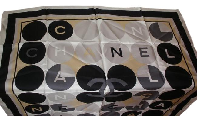 Item - Multi- White Beige Black & Silver Large Silk Scarf/Wrap