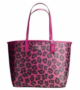 Coach Ocelot Leopard Pink Tote in Cranberry Black