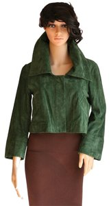 Diane von Furstenberg Dvf Cropped Suede Green Leather Jacket