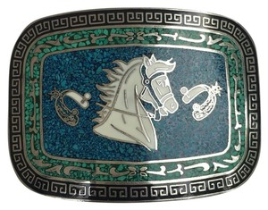 Vintage Taxco Mexico Turquoise Inlay Horse Head Spur Design Brass Belt Buckle