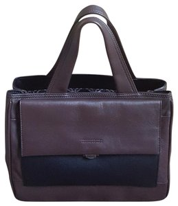 Perlina Black Leather Satchel in Choco/Black