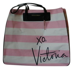 VICTORIAS SEACRET Large Stripped White & Pink Beach Bag