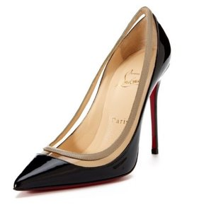 Christian Louboutin Black patent, leather insole and signature red leather sole Pumps