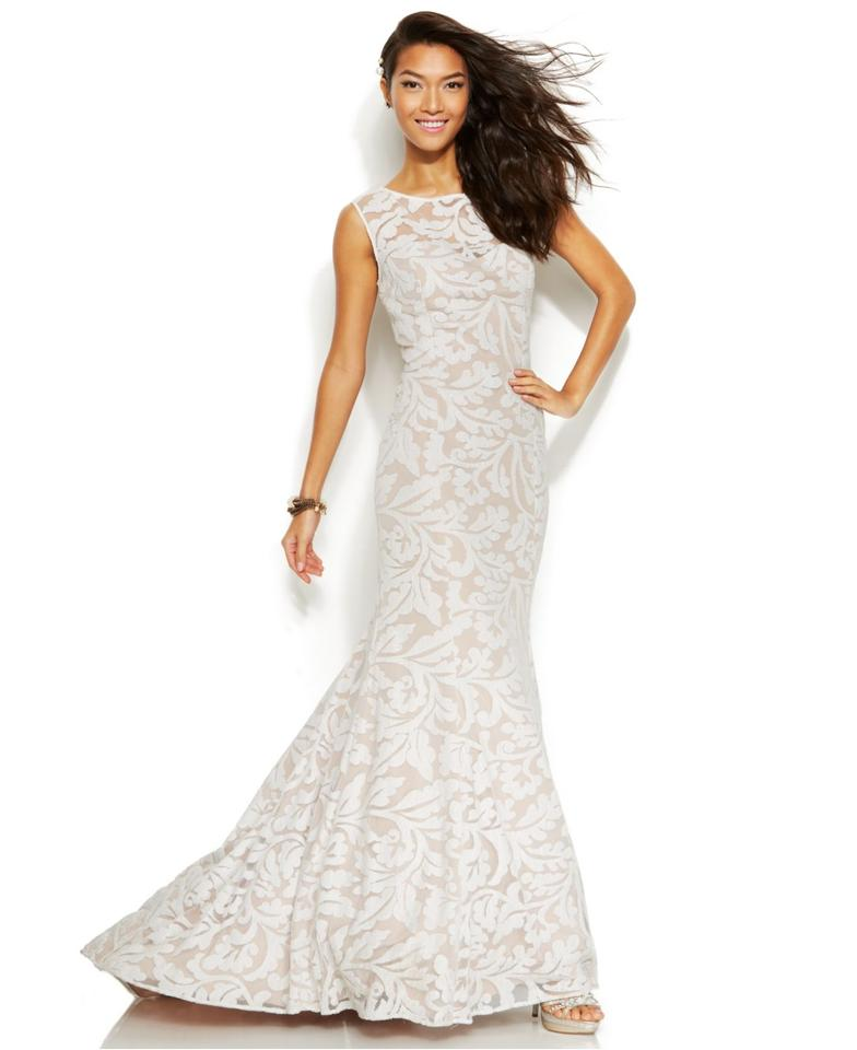 Adrianna Papell White Nude Sleeveless Embroidered Lace Mermaid ...