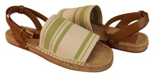 Tory Burch Leather ivory/olive/royal tan Sandals