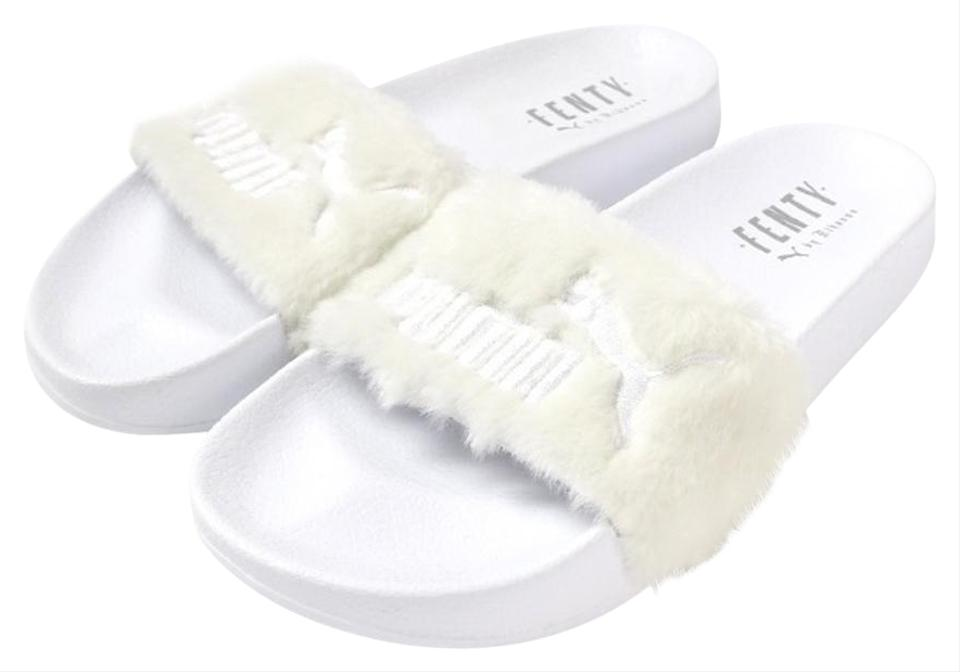 hot sale online f0c3a 0dc8a Puma White Fenty Rihanna Leadcat Faux Fur Slides 22cm Sandals Size US 5.5