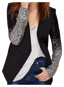 Leather Jacket Black w/ Silver Ombre Sequin Blazer