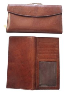 Bosca Bosca Wallet Brown Leather Trifold w/Checkbook