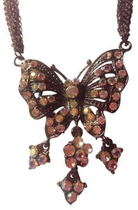 Other Vintage Antique Silver Butterfly Necklace With Hand Set Crystals