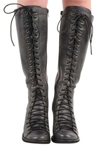Jeffrey Campbell Leather Lace Up Knee High Distressed Black Boots