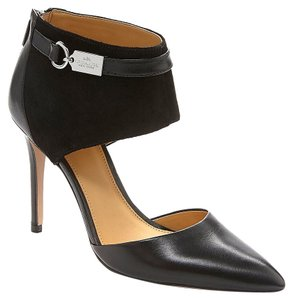 Coach Heiress Leather Suede Pointy Toe Black Pumps