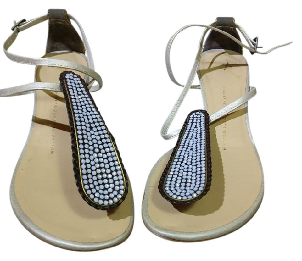 1e01bb0a2 Giuseppe Zanotti Platinum Leather Demi- Strass Moonstone Swarovski Crystals  Wedges