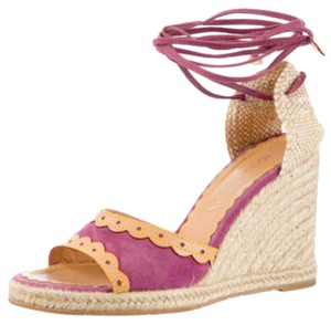 Louis Vuitton Lv Lv Espadrille Lv Suede Purple Wedges
