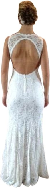Item - White and White Lace Mermaid Formal Dress Size 4 (S)