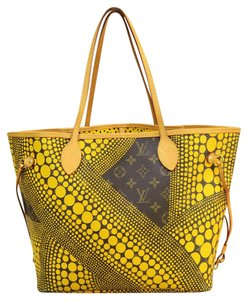 Louis Vuitton Lv Neverfull Mm Yellow Canvas Shoulder Bag