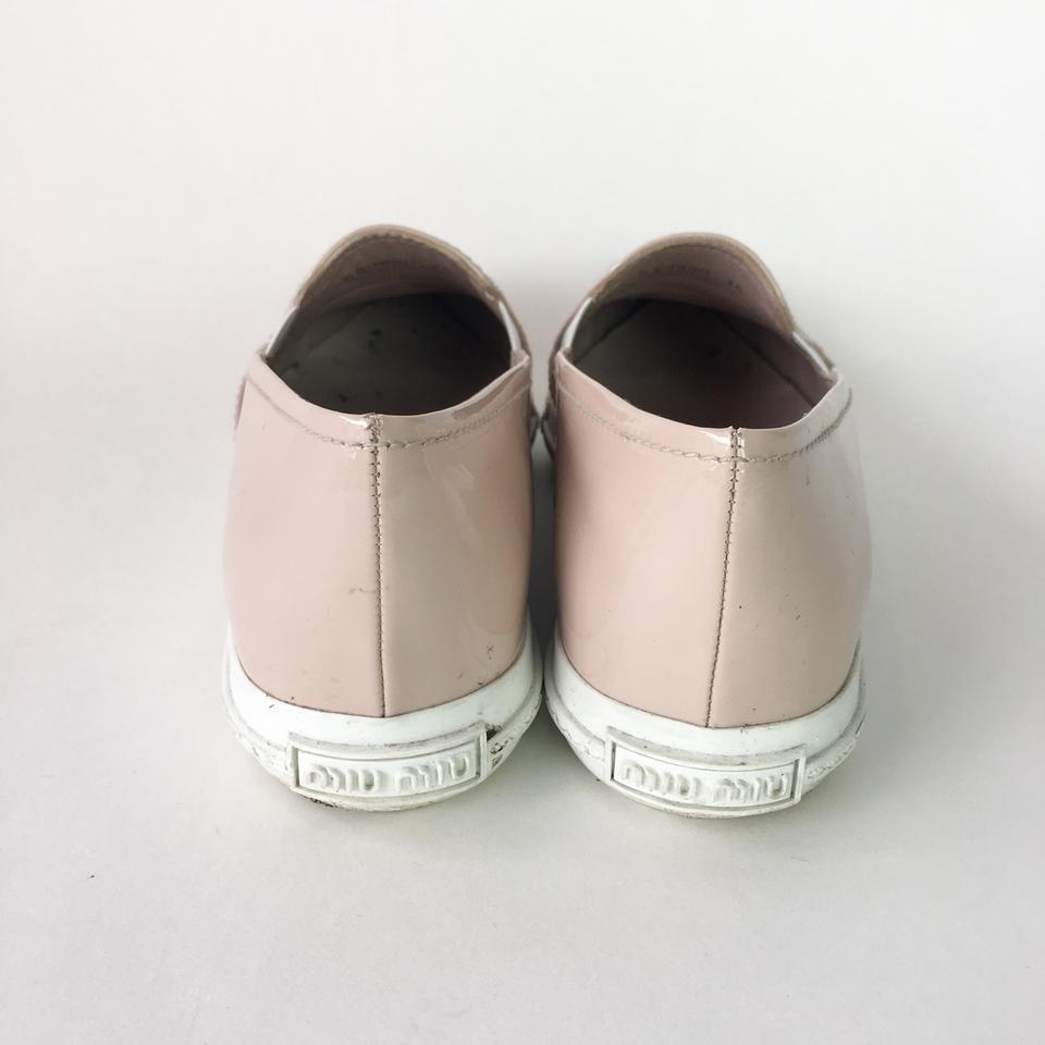 miu miu beige crystal patent slip on sneakers flats flats on sale. Black Bedroom Furniture Sets. Home Design Ideas