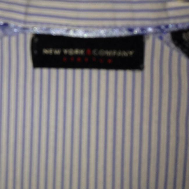 New York & Company Stretchy Washable Classic Taylored Fit Button Down Shirt Blue And White Pin Stripe