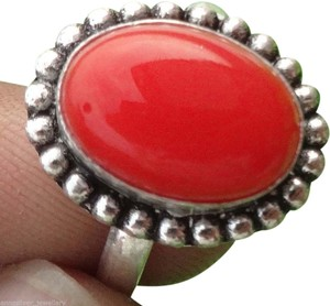 AnnaSilver NEW Sterling Silver Genuine Coral Ring, Size 7.5, 3.2 gms