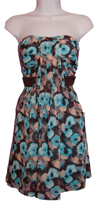 C. Luce short dress blue flowered Modcloth Floral Strapless Blue on Tradesy