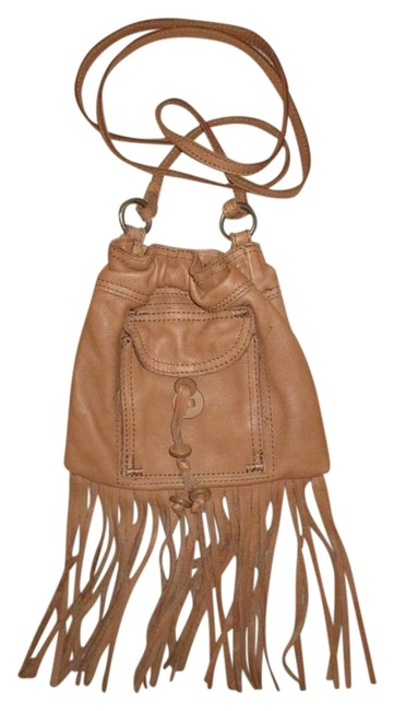 Item - Fringed Tan Cow Leather Cross Body Bag
