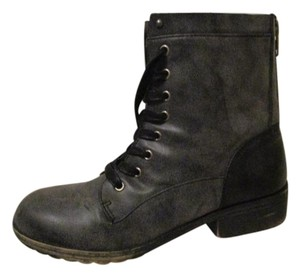 Madden Girl Faux Leather Moto Combat grey Boots
