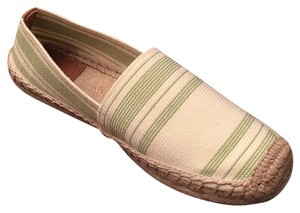 Tory Burch Ivory with green stripes Flats