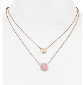 Michael Kors MICHAEL KORS ROSE QUARTZ DUAL STRAND PENDANT NECKLACE BAG $115 MKJ5476