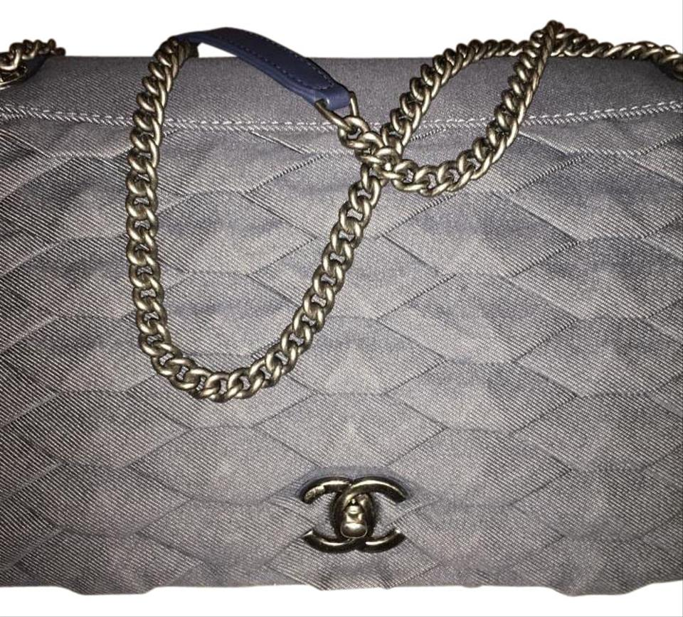Chanel Classic Flap 16c Jumbo Dark Blue Denim Shoulder Bag - Tradesy 84bc888c24