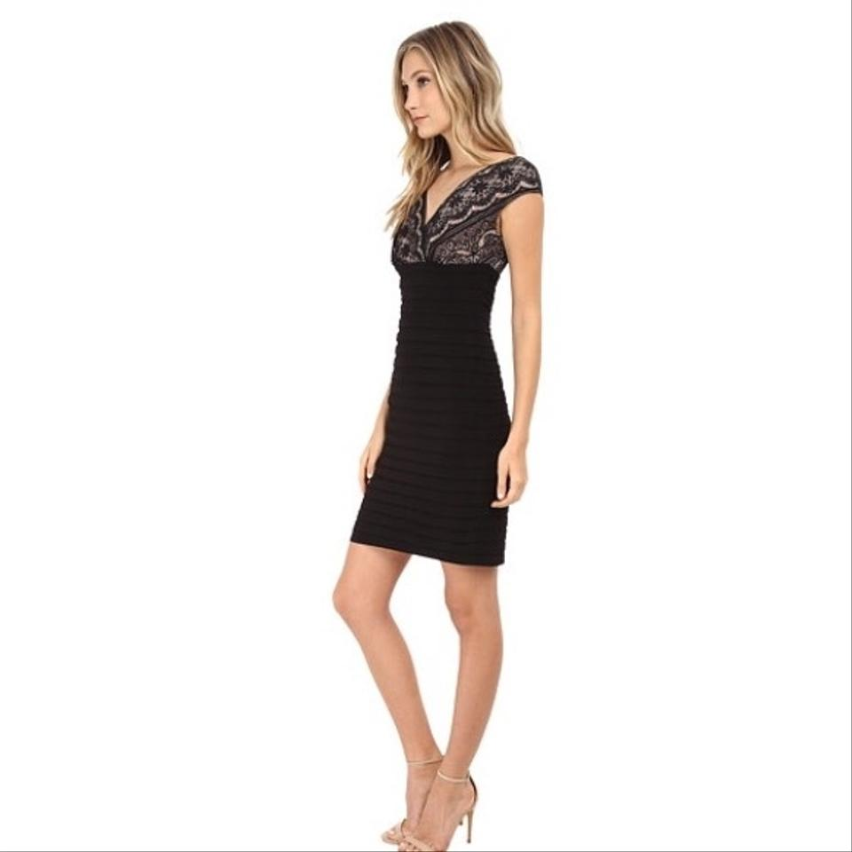 Adrianna Papell Black/Lace Over Nude Banded Knee Length Cocktail ...