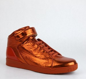 Gucci New Auth Gucci Men Napa Shinny Leather High-top Lace-up Velcro Sneaker 337216 Orange 7581 Size 10 G/us 10.5