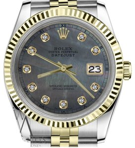 Rolex Women`s 26mm Datejust2Tone Black MOP Mother Of Pearl Dial with Diamond