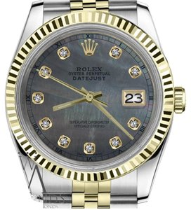 Rolex Men`s 36mm Datejust2Tone Black MOP Mother Of Pearl Dial with Diamond