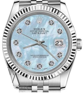 Rolex Women`s 26mm Datejust Baby Blue Mother Of Pearl Dial with DiamondWatch