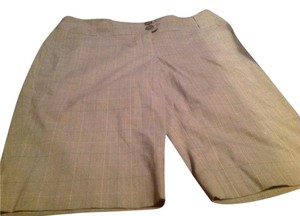 The Limited Biege Plaid Great City Shorts Capris Brown with beige and white lines as a print