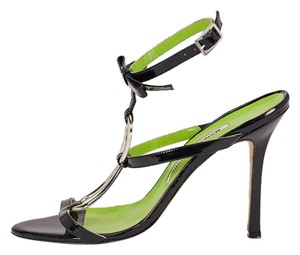 Manolo Blahnik 12548 Black, Green Sandals