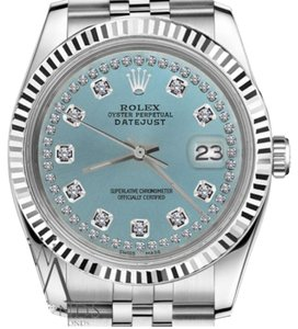 Rolex Woman`s Rolex 26mm Datejust Ice Blue String Diamond Accent Dial Watch