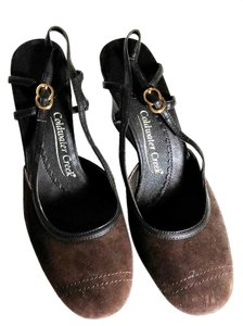 Coldwater Creek Brown Suede Slingback Wedge Wedges