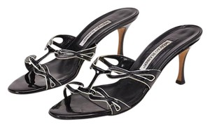 Manolo Blahnik 12550 Black, White Sandals