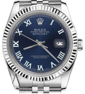 Rolex Man`s Rolex 36mm Datejust Navy Blue Color Roman Numeral Dial Watch