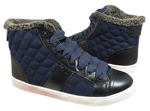 Tory Burch Flannel Shearling Sneakers High Top navy Athletic