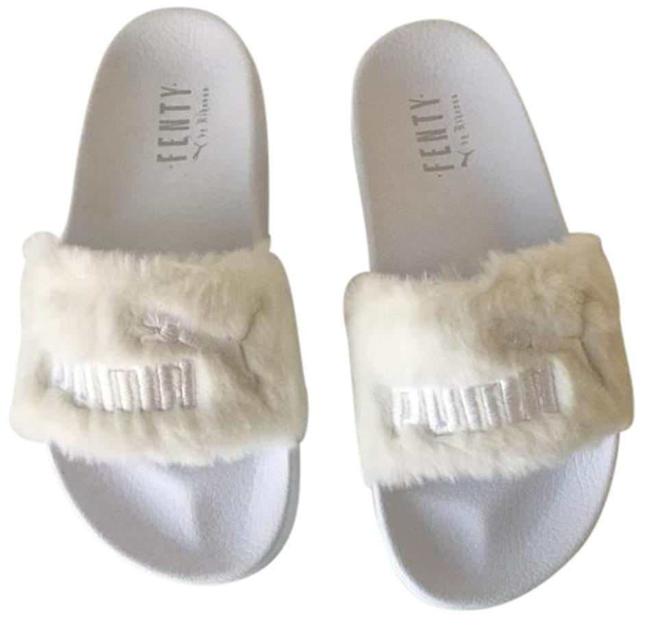 new concept 95b7a 6fdf3 Puma White Rihanna Fenty Lead Cat Slip On Fur Slides Sandals Size US 7.5