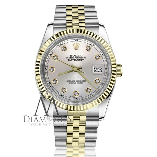 Rolex Men`s 36mm Datejust2Tone Silver Color Dial with Diamond Accent RT