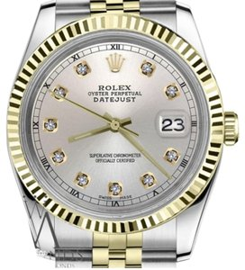 Rolex women`s 26mm Datejust2Tone Silver Color Dial with Diamond Accent RT