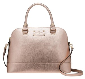 Kate Spade Leather Wellesley Satchel in Rose Gold